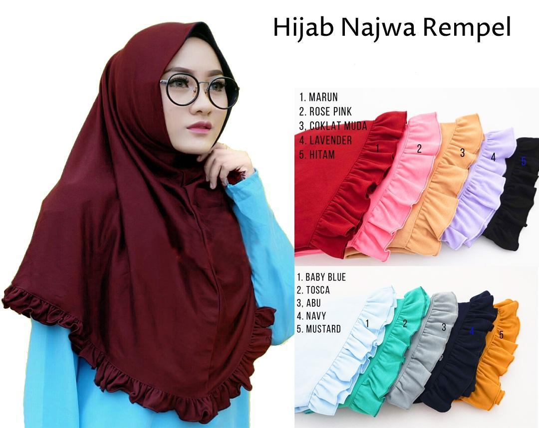 HIJABANA Hijab Rempel Lipit - Kerudung Jilbab Instan Rempel Polos - Hijab Instan Kaos Katun