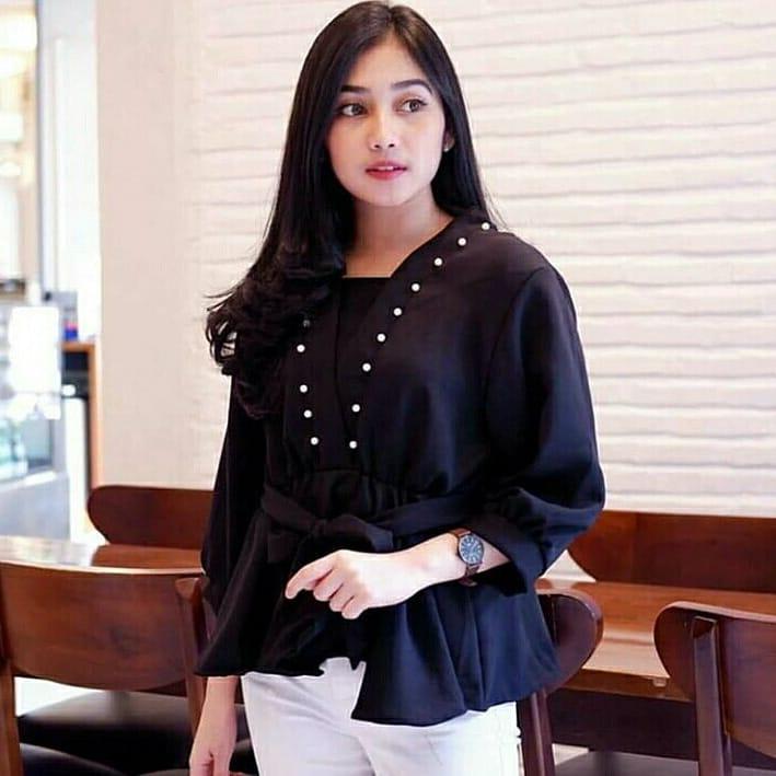 Baju Murah Terbaru Blus Adenia Top Blouse Linen Ruby Panjang Blouse Casual  Hijab Tunic Pakaian Terbaru f57d364371