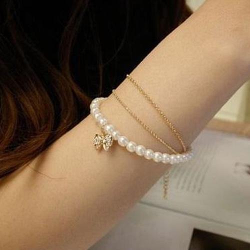 OILA Gelang Mutiara Bandul Pita Diamond Bracelet Bow Three Jge049