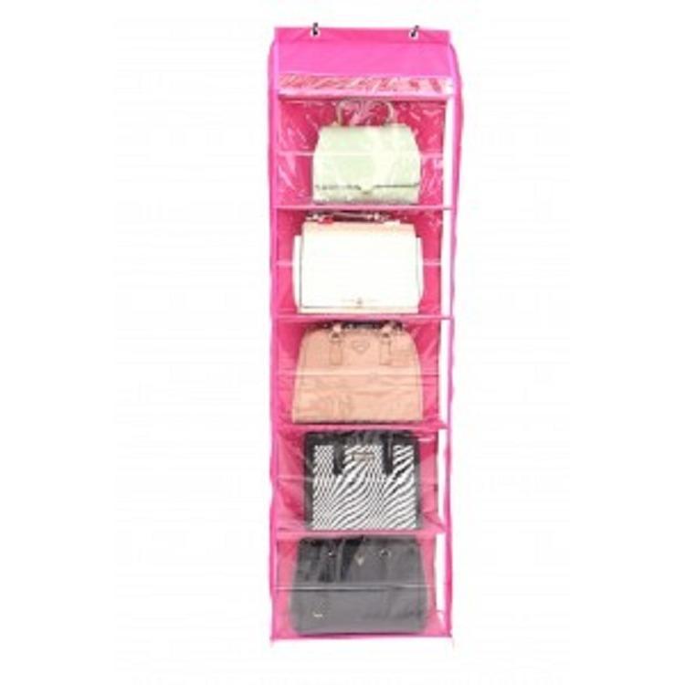 Rak Tas Gantung Besar Retsleting Hanging Bag Organizer With Zipper HBOZ Full Triplek Pink
