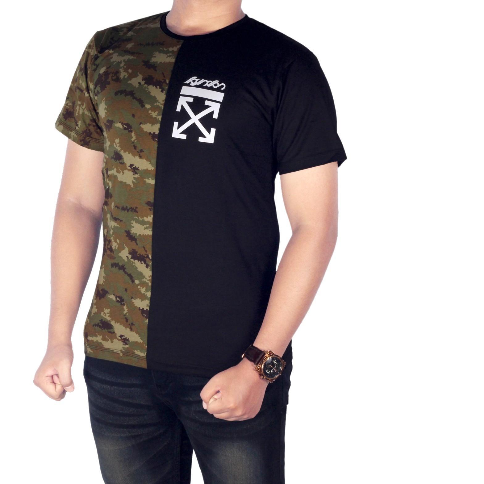 Dgm_Fashion1 Kaos Distro Hitam Combinasi Army / Baju Kaos Distro Hitam Polos/ Kaos Anak Motor/Kaos Retro/ Kaos Hitam Polos/Baju YOUNG LEX/Kaos Polos/Kaos Oblong/Kaos Distro/Kaos Casual/Kaos Hitam/Kaos Raglan/T-Shirt Man NX 5636