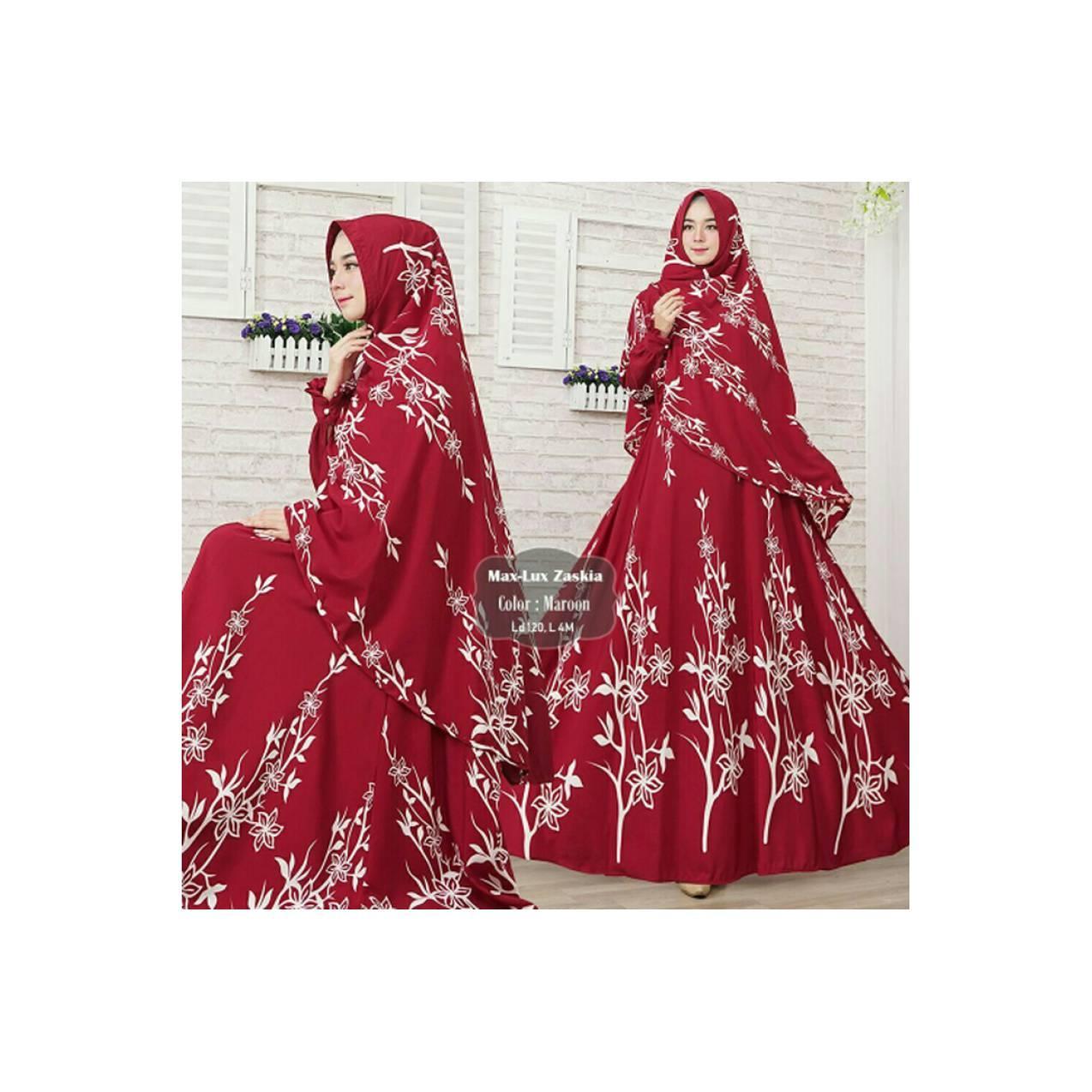 Baju Muslim wanita Gamis Muslimah Syari Premium MaxLuv Zaskia Maroon