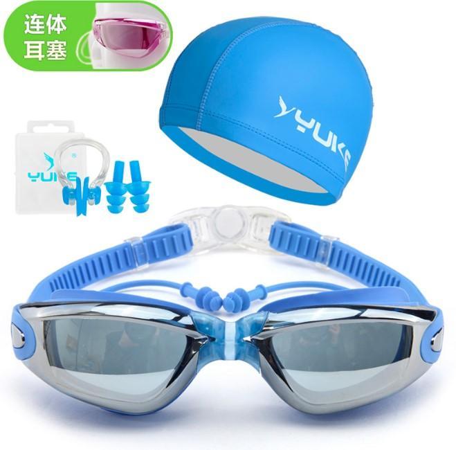 Paket kacamata renang dan topi penutup telinga renang warna biru