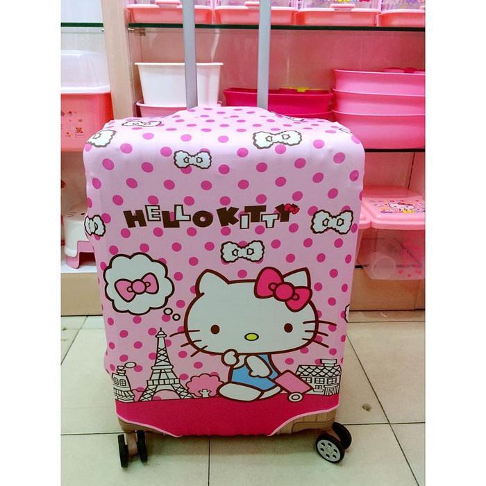 Sarung Trolley Koper 1222 Cover Pelindung M Hello Kitty Pink Polkadot