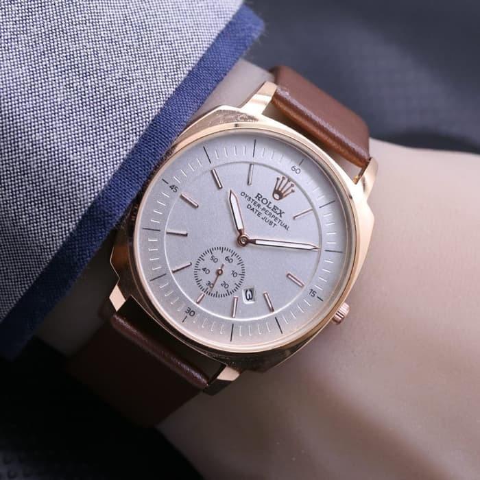 Jam tangan pria / Jam tangan pria original / Jam tangan pria murah / Jam tangan pria terbaru / Jam tangan pria swiss army / Jam tangan pria terbaik / Jam Tangan Pria / Cowok Rolex Chrono Detik Leather Dark Brown DISKON MURAH!!!
