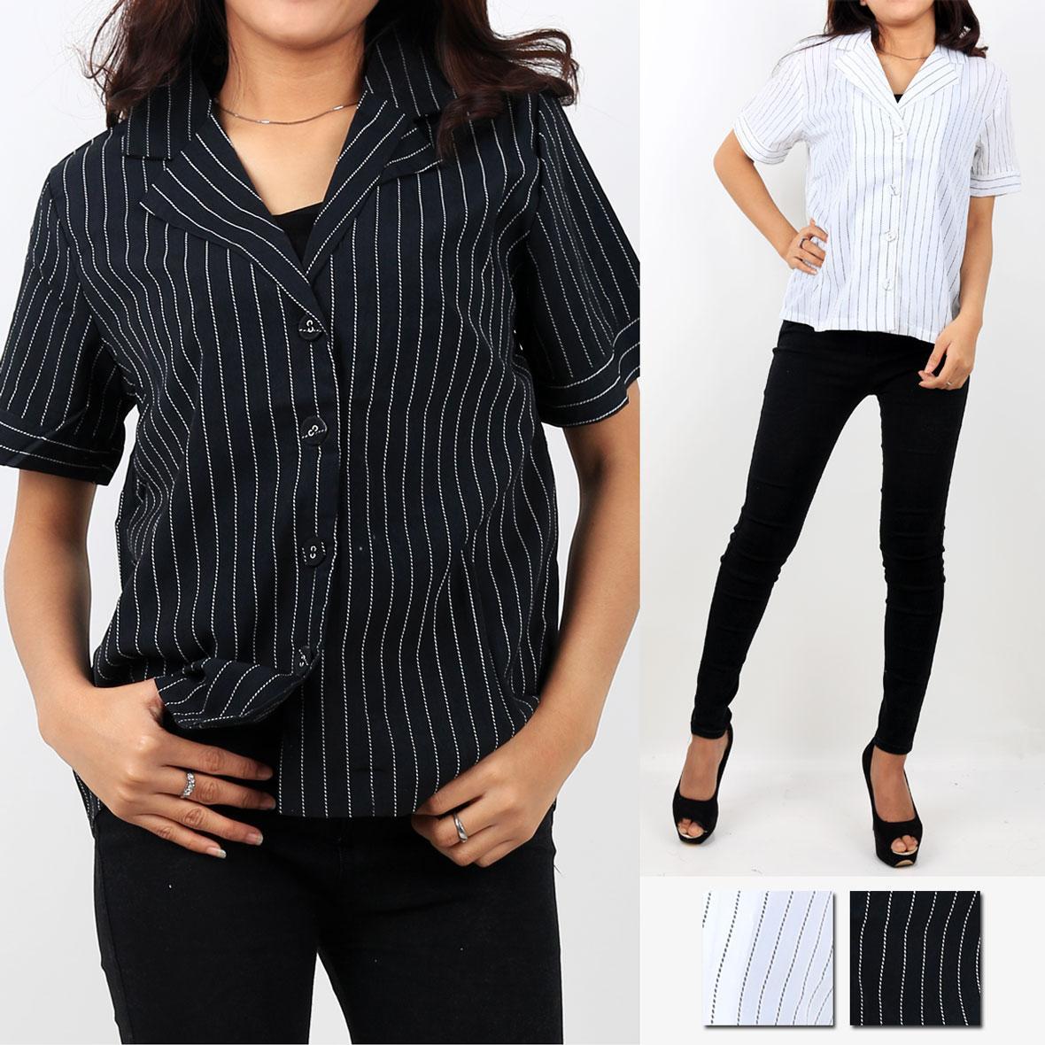 Oma Fashion Keisya Blouse Kerah Jas Lengan Pendek - 2 Warna - Size M