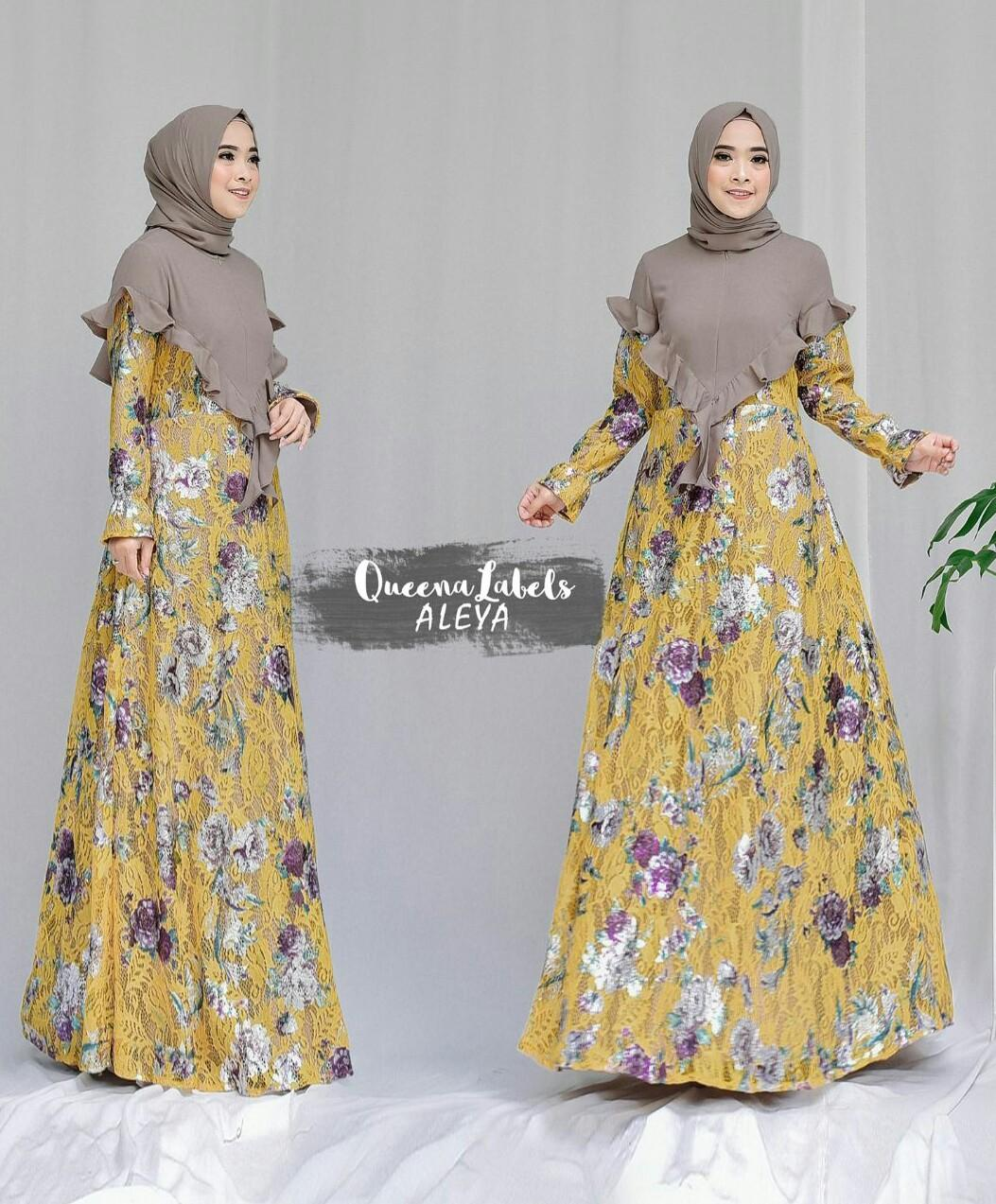 Dress Set Brokat Print Aleya Kuning Original by Queenalabels
