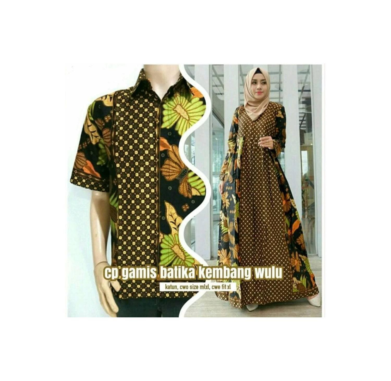 terbaru Couple Sarimbit Gamis Batik Modern kemeja Pria Batik