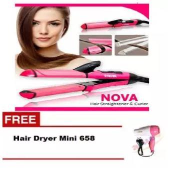 Nova 2 in 1 Hair Beauty Set NHC 2009 Catokan Mini Pelurus dan Pengeriting Rambut Free Nova Hair Dryer N-658 Hair Drayer 1 Pcs