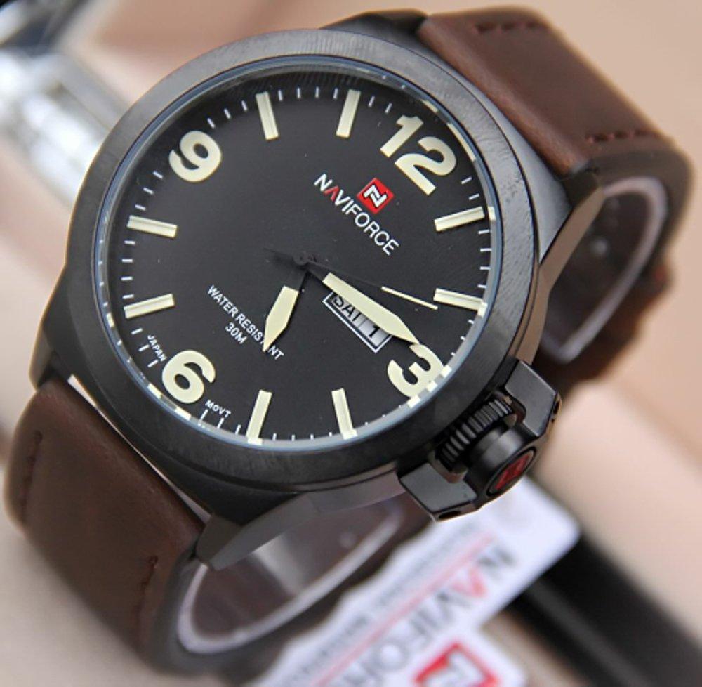 Jam Pria Original Naviforce N9060 Leather Dark Brown - Yellow Stripe (swiss army expedition casio)