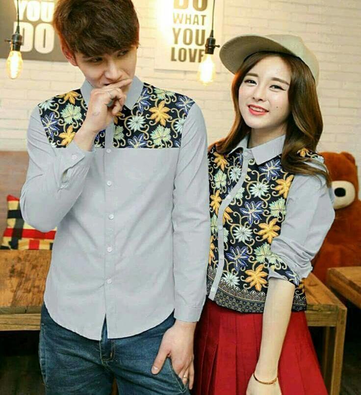 Tj-kemeja couple batik fulfutik abu abu-harga sepasang-elegan fashion batik-kemeja couple batik lengan panjang