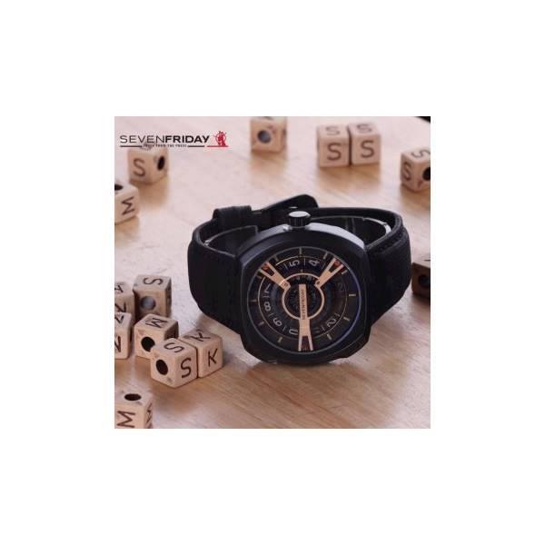 Jam Tangan Pria Murah Sevenfriday SK217 Leather Black Gold Loreng