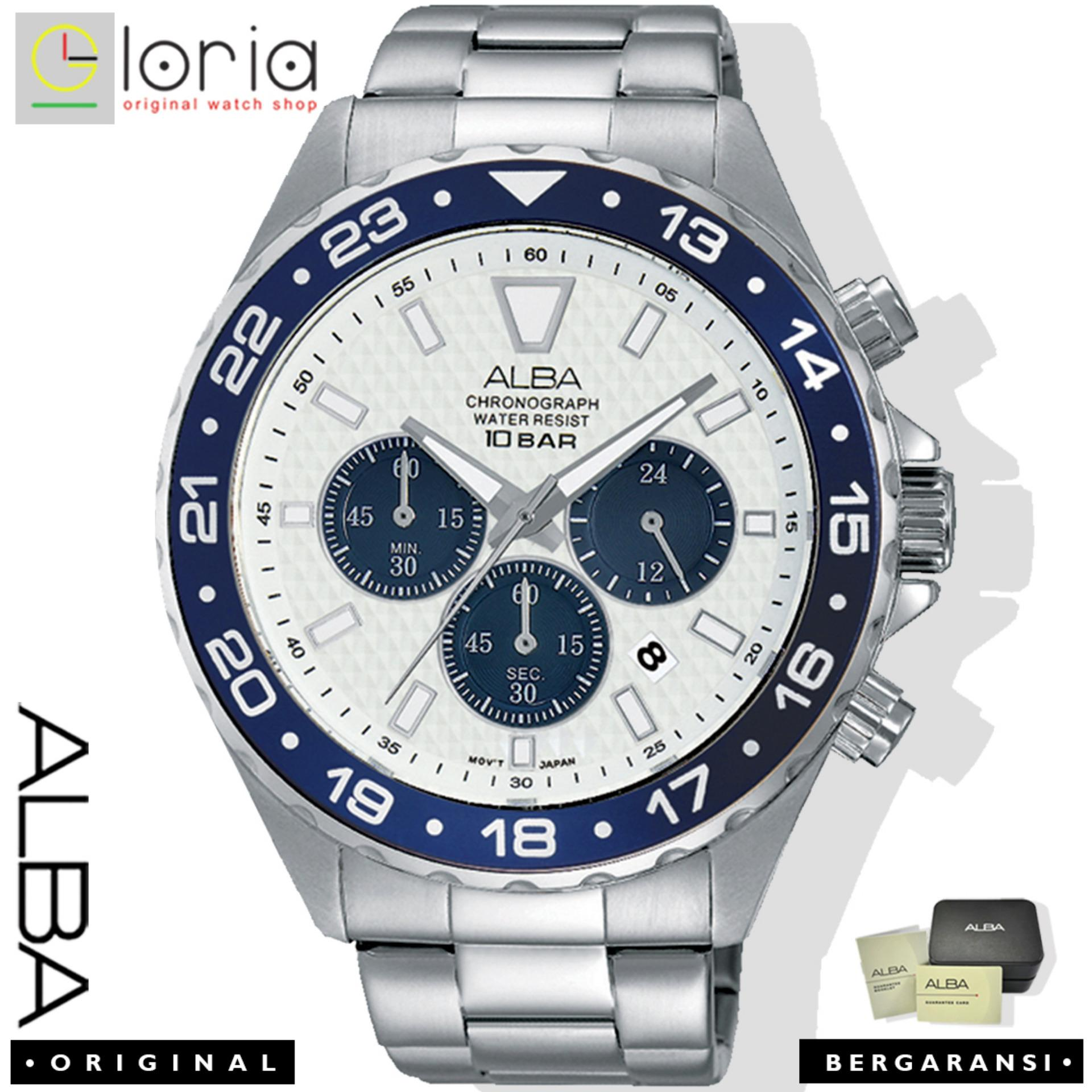 Alba AT39 Chronograph Jam Tangan Pria Tali Kulit Quartz Movement / Stainless Steel jam tangan alba