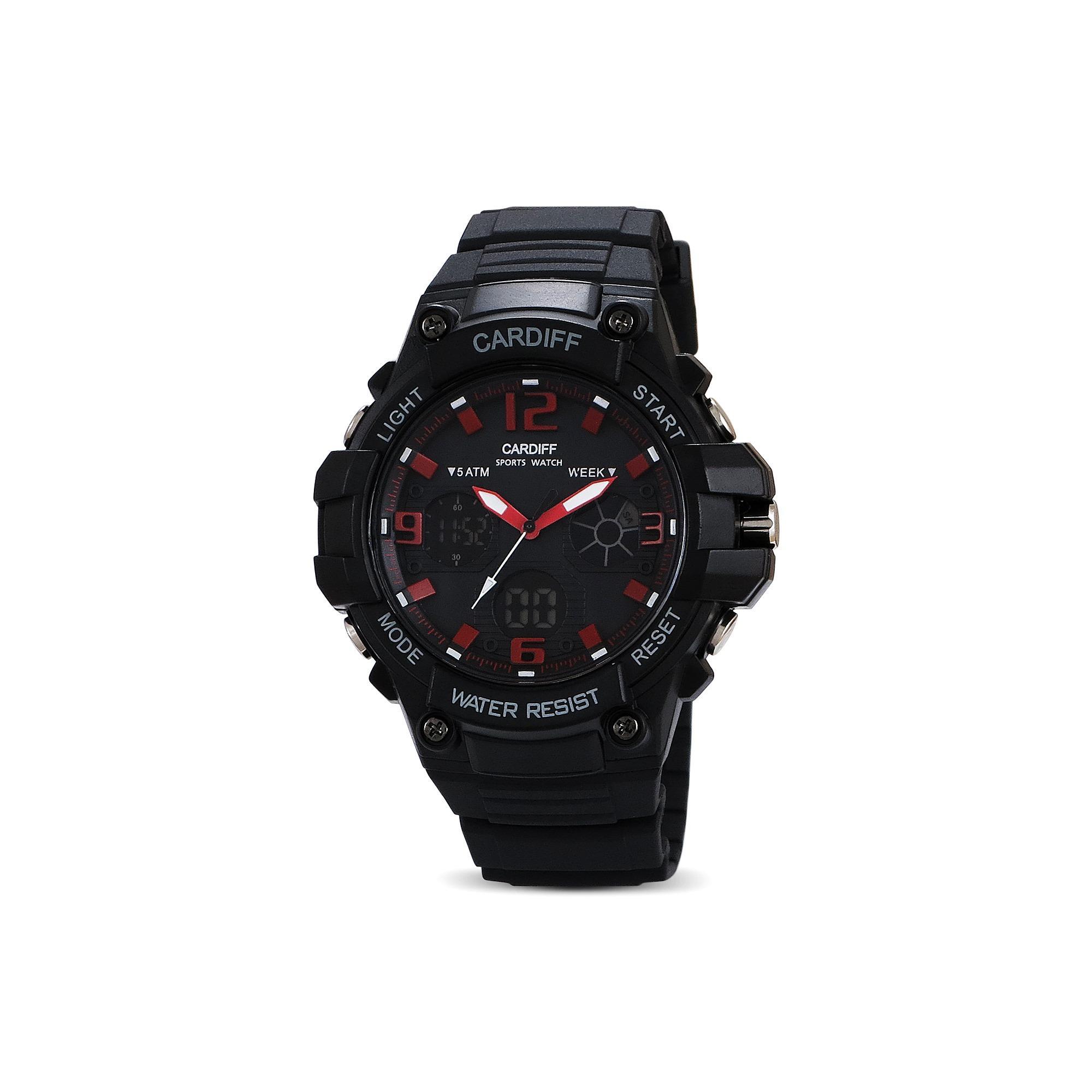 Jam Tangan Double Time CARDIFF ORIGINAL DT 6015 Red Berkualitas Water Resistance Garansi 1 Tahun