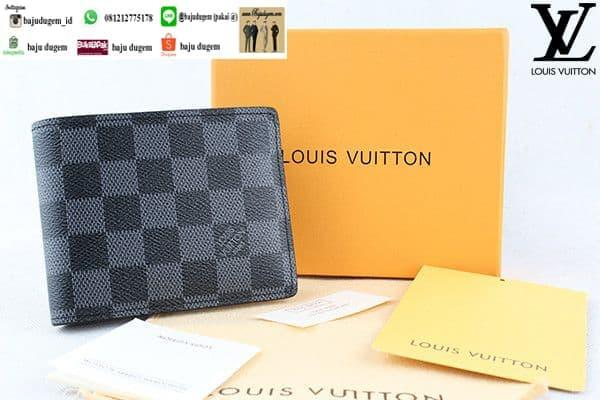 Diskon 10%!! Dompet Louis Vuitton Damier Premium Import Quality Murah -W L-Vp Dmr1 - ready stock