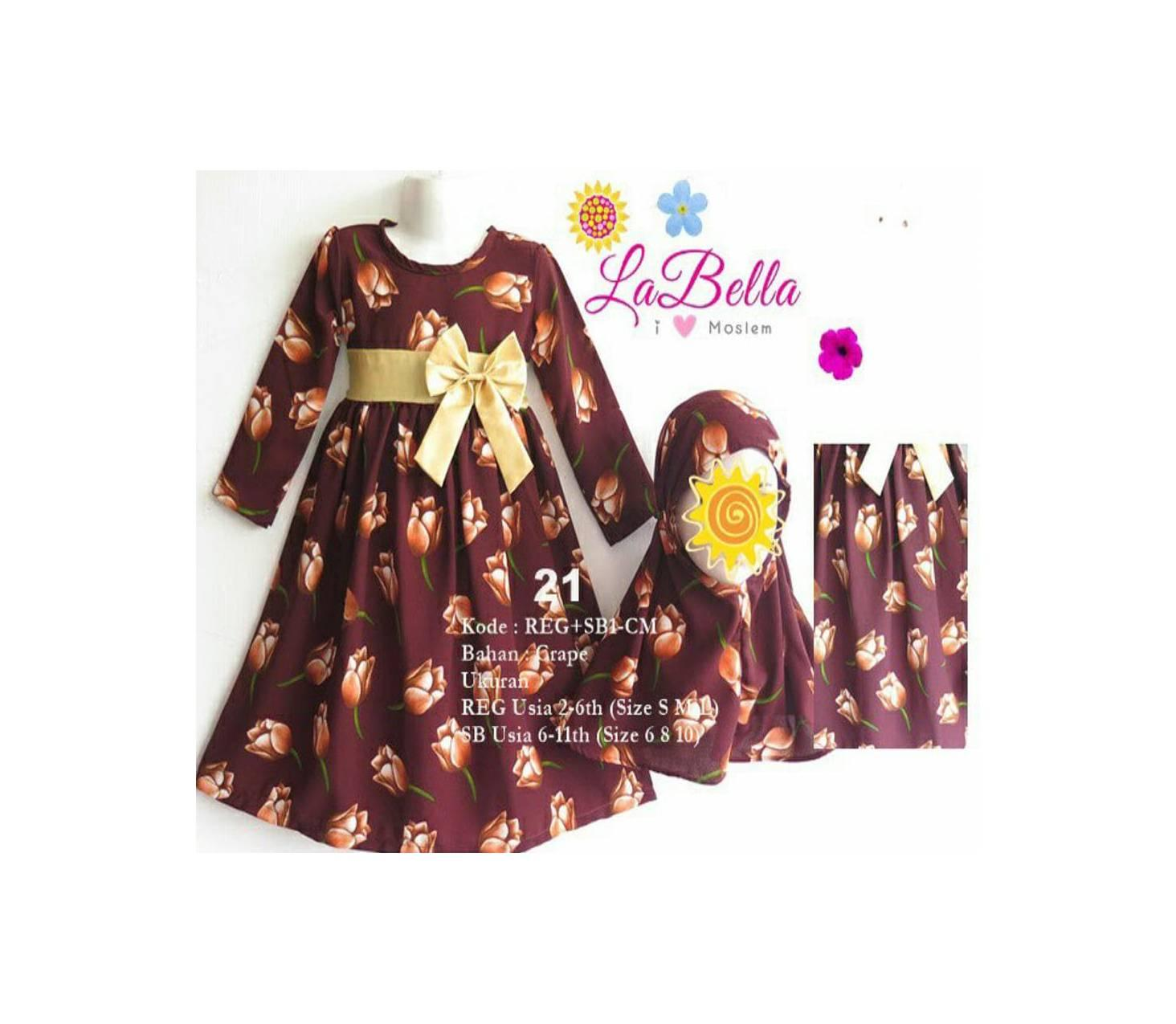 SALE Baju Gamis Anak LaBella Usia 6-11 Tahun (SB1-CM-1621)