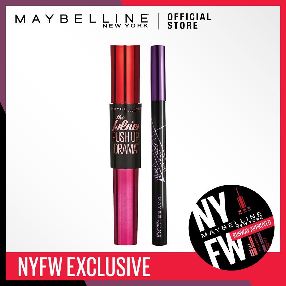 Maybelline Drama Eye Set - Maskara Push Up Drama & Eyeliner Hyper Sharp [Bundle]