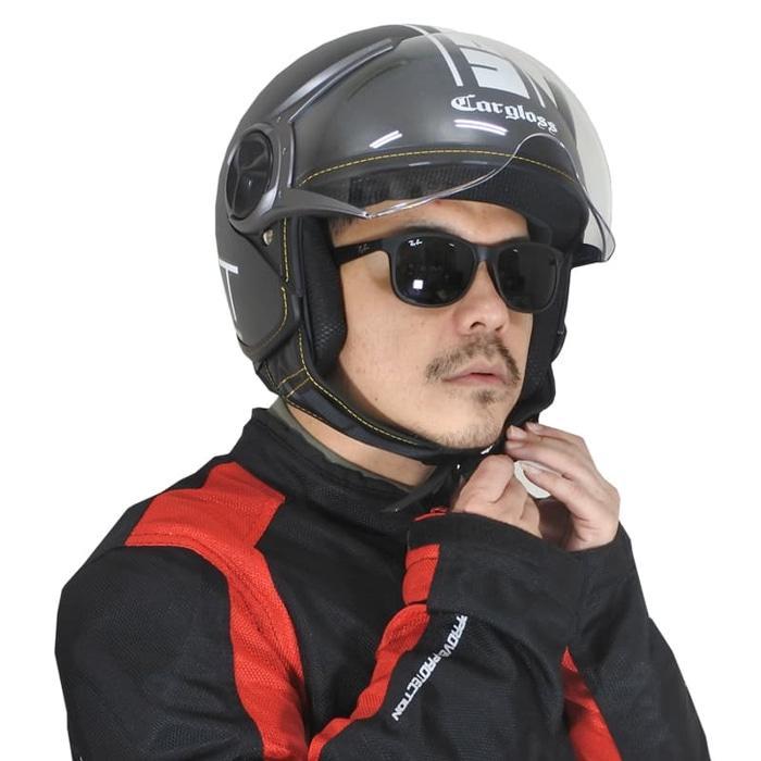 Cargloss YR Protect Helm Retro Half Face - Deep Black doff (SG) || helm kyt / helm bogo / helm full face / helm ink / helm sepeda /helm motor/helm nhk/helm retro/helm anak/helm gm