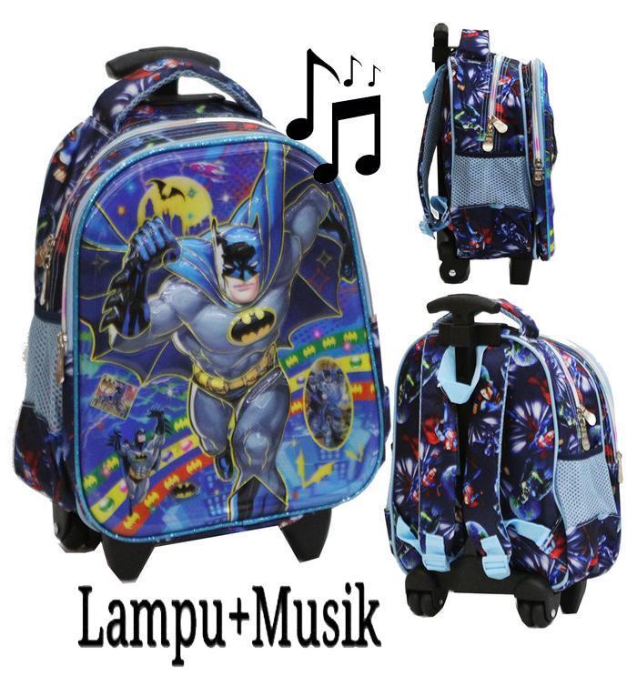 Onlan Tas Trolley Anak Sekolah TK Karakter Anak Laki Laki Transformers - Batman - Tobot -