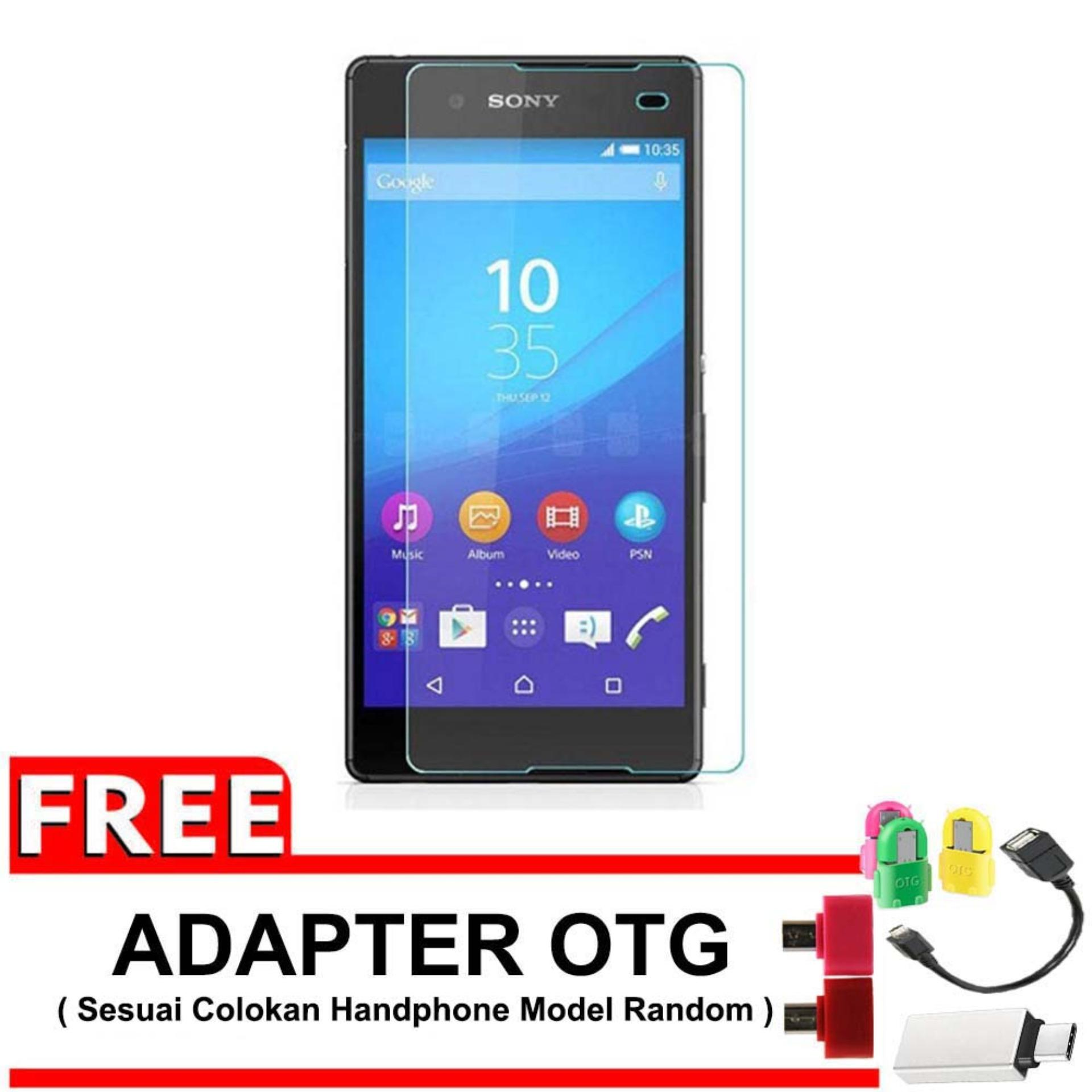 "Vn Sony Experia Xperia Z3+ Plus (5.2"") / Docomo / LTE Tempered Glass 9H Screen Protector 0.32mm + Gratis Free Adapter OTG - Bening Transparan"