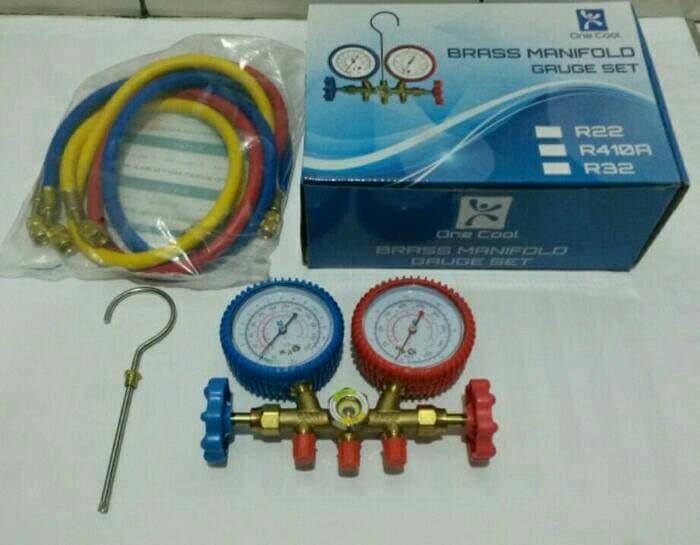 SERBA'ONLINE One Cool Brass Manifold Gauge Set. Alat Isi Freon AC R22 R32 R410a