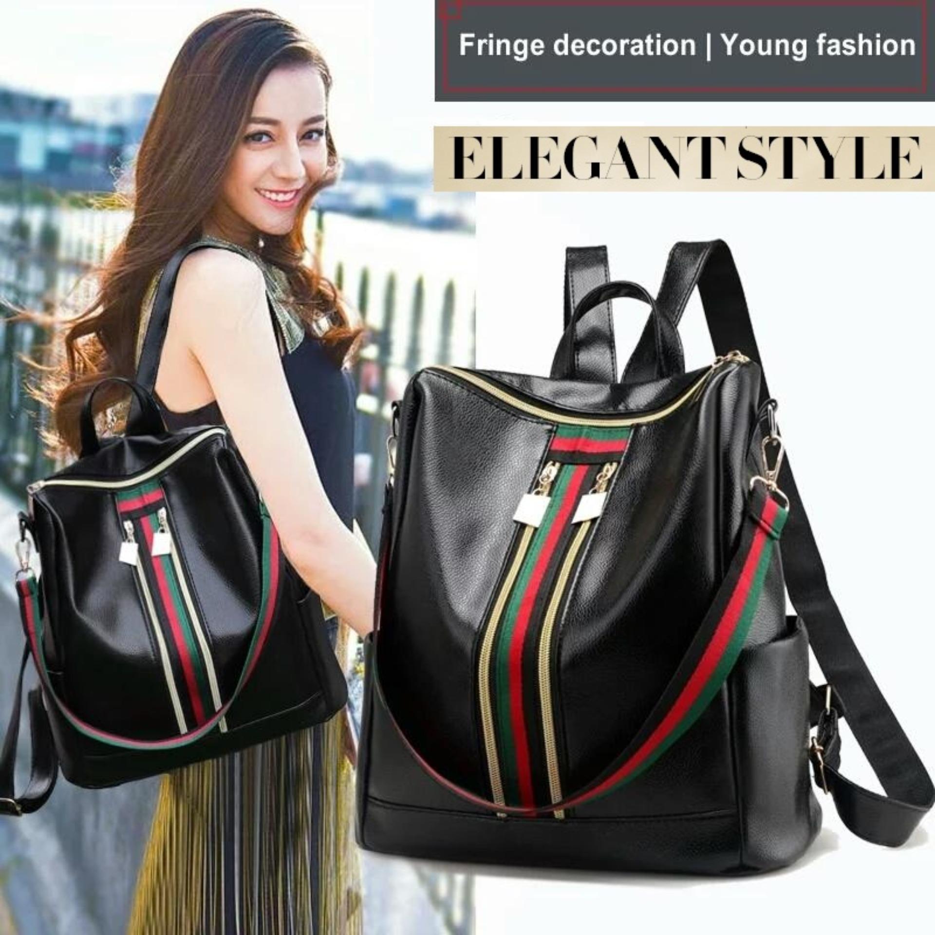 JCF Tas Ransel 3in1 Kulit PU Import Korean Style Bagus Fashion Branded Wanita Remaja Dan Dewasa Taobao - Kezia Black