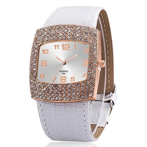 Bluelans Jam Tangan Perhiasan Wanita Bluelans Dengan Strap Kulit Berlian Imitas