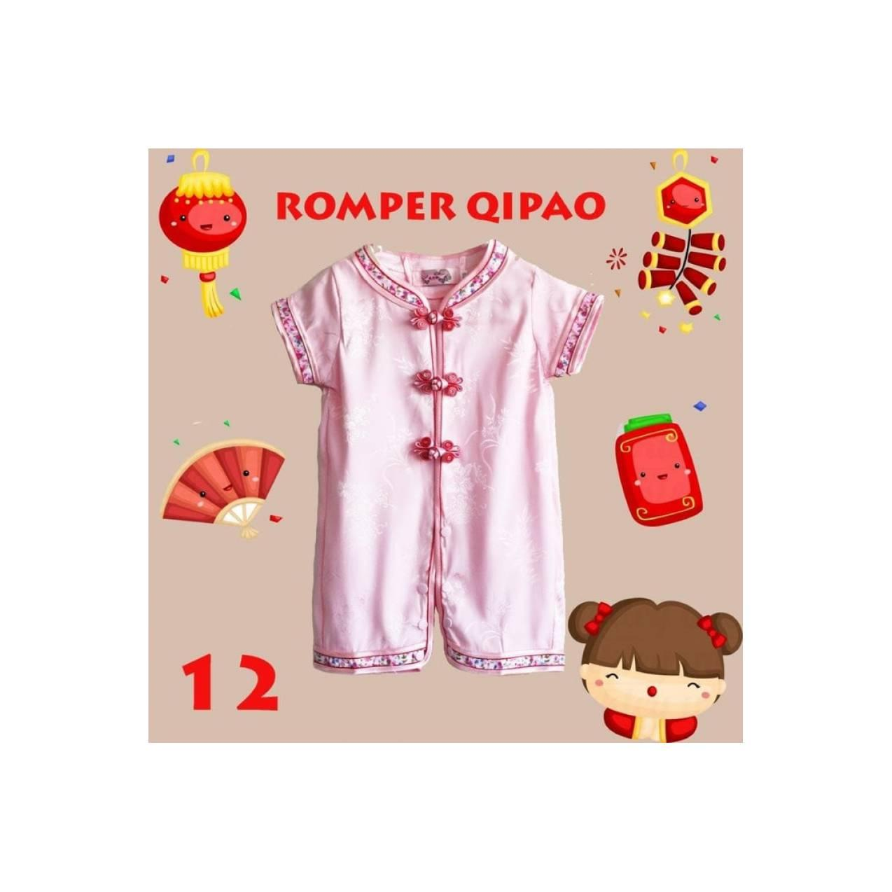 romper baju imlek cheongsam anak bayi cewe perempuan pink bunga sakura