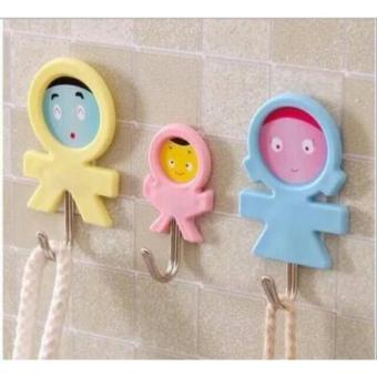 Harga preferensial Gantungan tempel serbaguna isi 3 motif Cute Baby / Self Adhesive Hook 1 Set isi 3 Pcs terbaik murah - Hanya Rp7.649