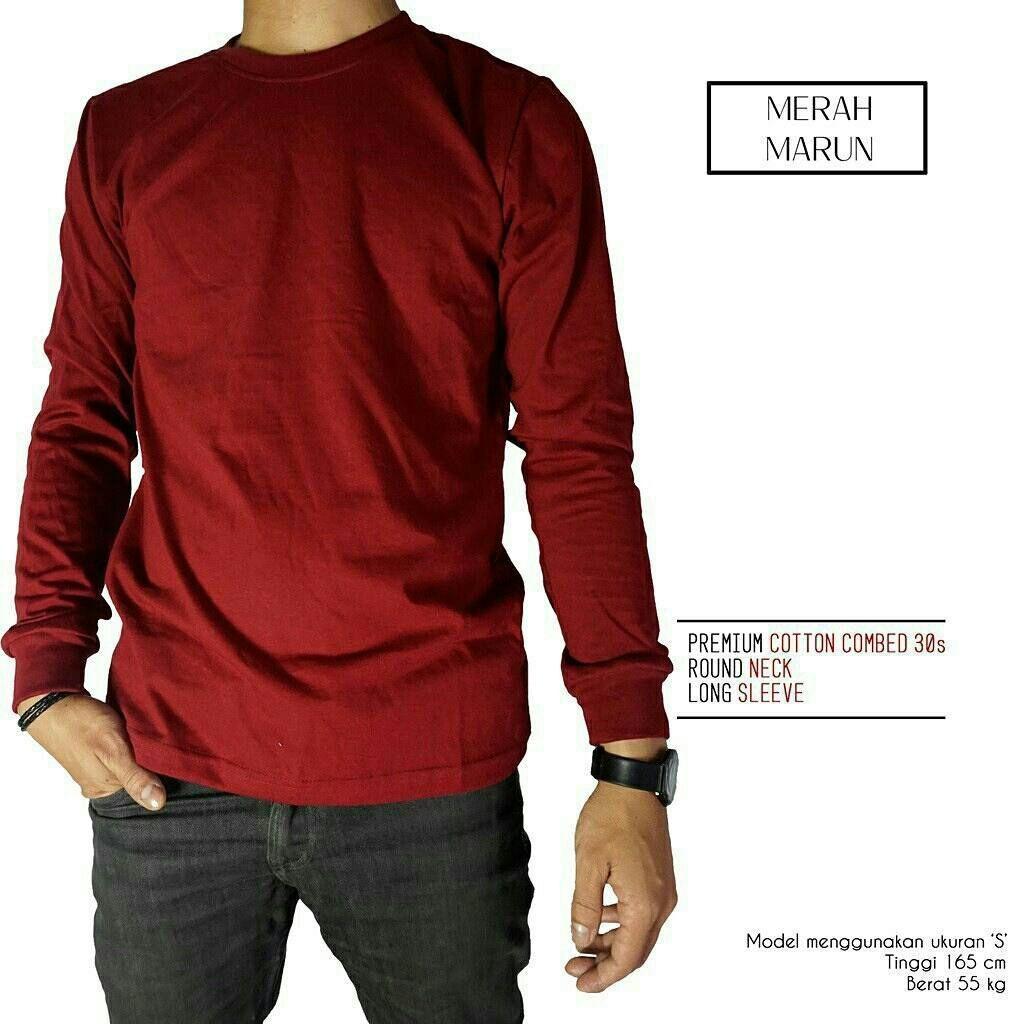 T-Shirt Unisex / Kaos Polos Lengan panjang Combed 30s Marun