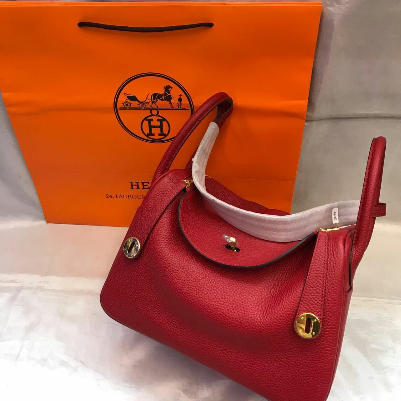 TAS HERMES LINDY CLEMENCE RED GHW 30CM MIRROR QUALITY