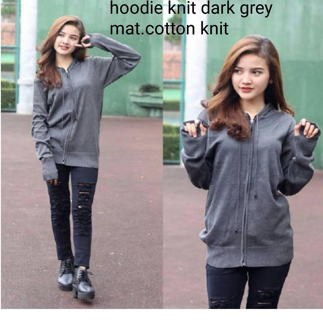 Jacket Hoodie Knit Dark Grey