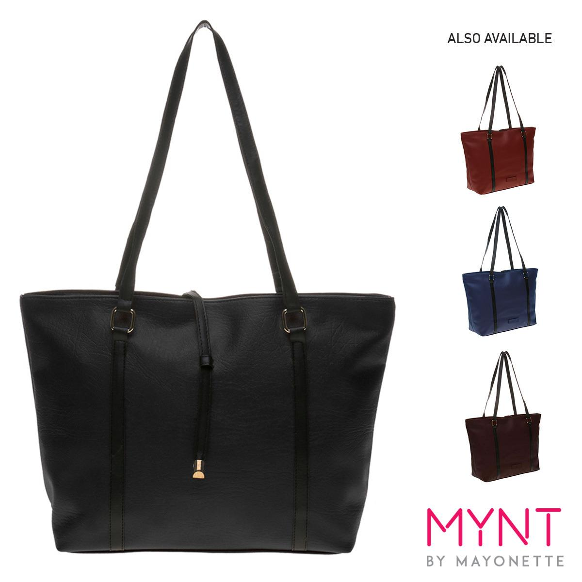 MYNT by Mayonette Tas Fashion Wanita Totes Shoulder Casual PU Leather Best Seller Korean Style Women Bags Largo Totes - Black (Hitam)