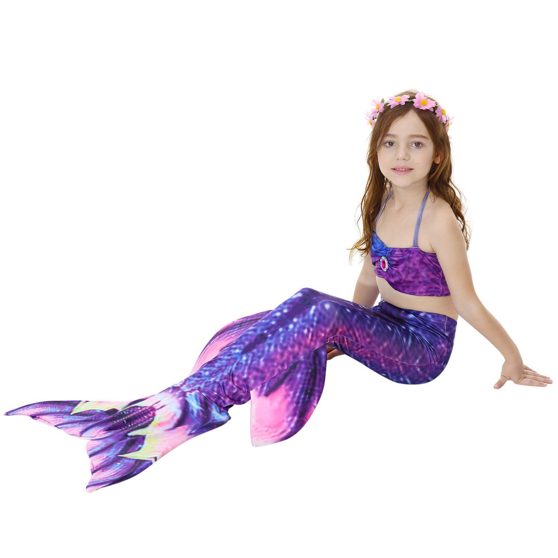 2-12Y Gadis Mermaid Ekor dengan Fin Putri Gaun Bikini Set Split Dua Piece Swimmable