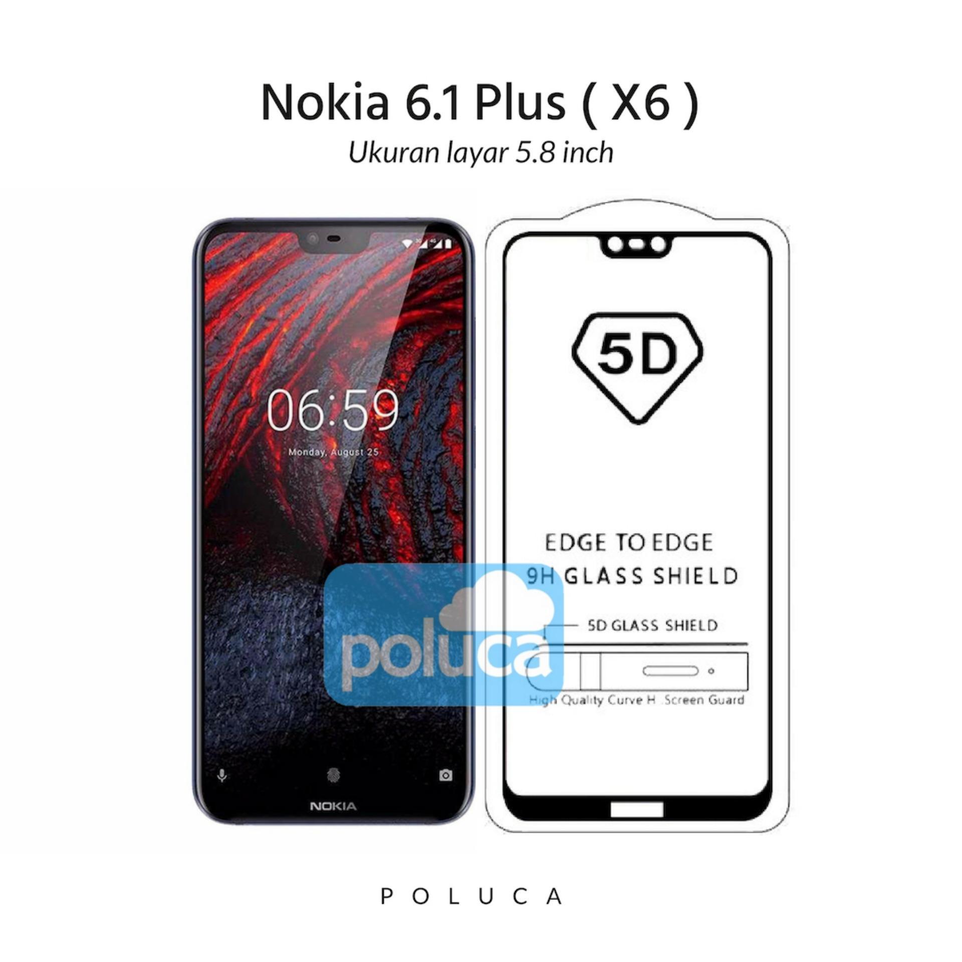 Poluca 5D Full Cover Tempered Glass Nokia 6.1 Plus ( X6 ) Full Lem Anti Pelangi - Hitam