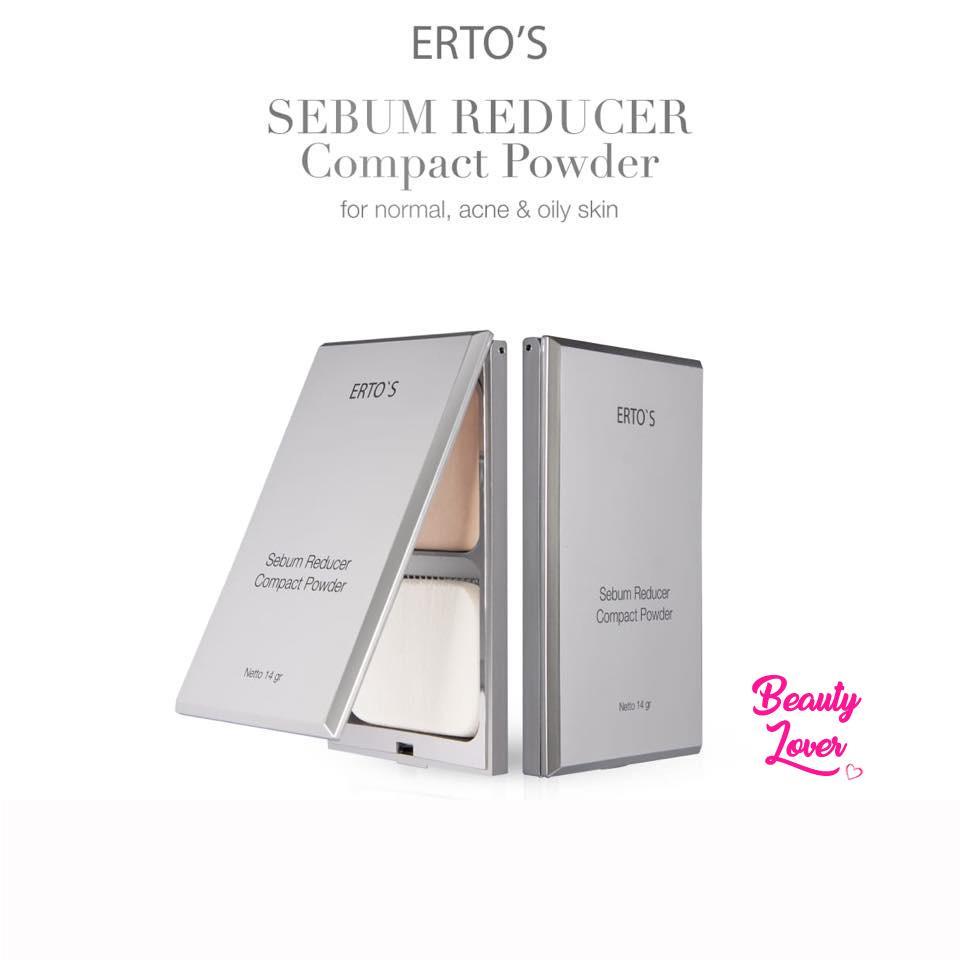 Ertos Sebum Reducer Compact Powder For Normal, Acne, Oily Skin Bedak Padat Two Way Cake Mengurangi Minyak Wajah Berlebih Makeup Tahan Lama