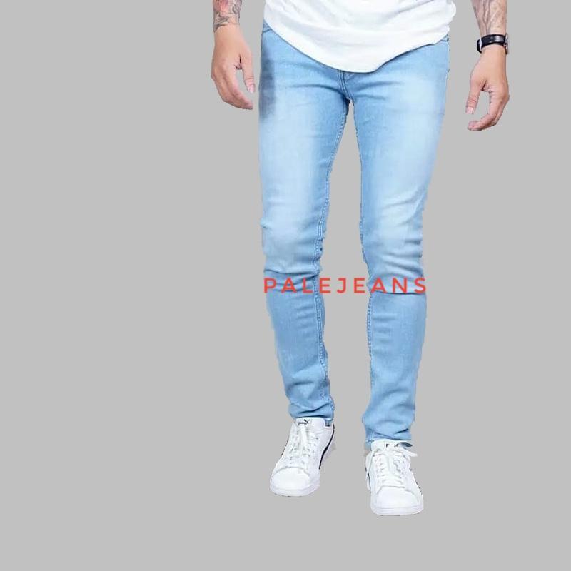 PaleJeans - celana jeans denim pria skinny / slimfit / pensil light blue / biru telor