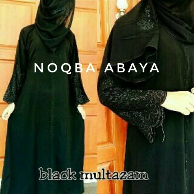 Simple Exclusive Abaya Dubai Gamis Arab Jubah India Dress Turkey Bordir Multazam Black Hitam Simpel (S)