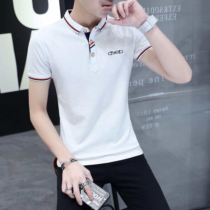 Musim panas untuk memimpin Pria lengan pendek baju kaos Gaya Korea membentuk tubuh Trendi Pria Warna