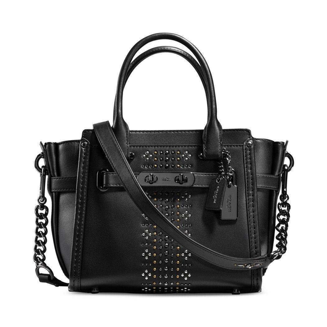 Tas Coach Swagger 21 Bandana Rivets SMALL Glovetanned Leather 55524 Satchel Black Bag Authentic Asli Original USA Store
