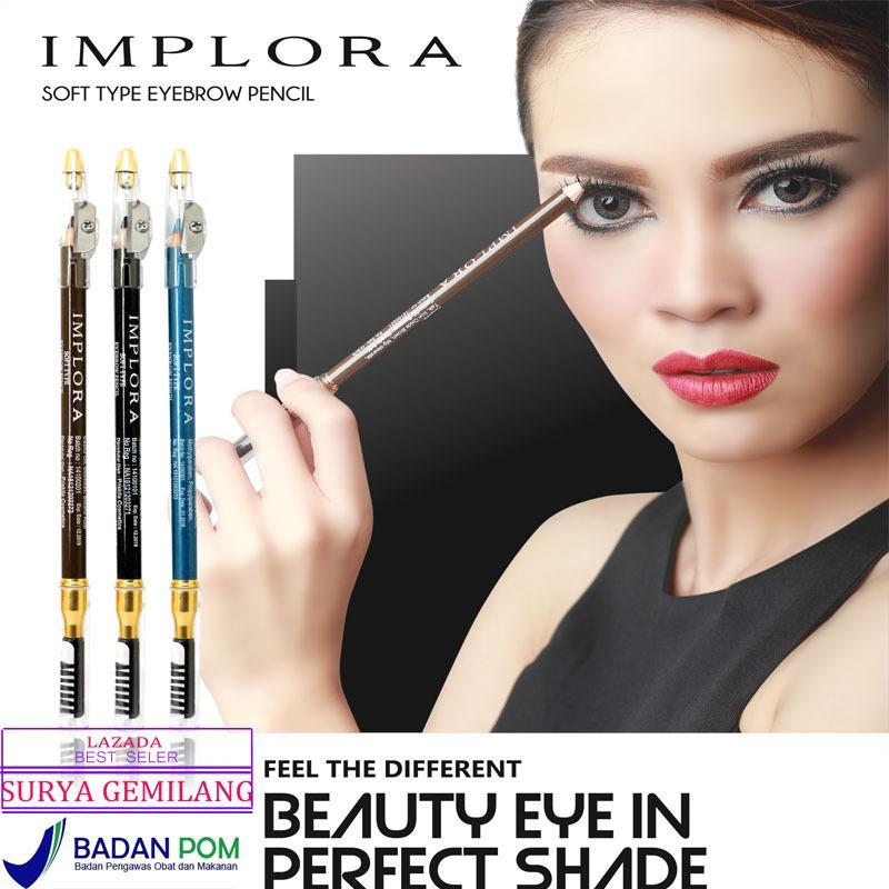 Implora Original Pensil alis / Pencil & Brush / Drawing Eye Brow IMPLORA Set PA-02 BPOM -HITAM / BLACK