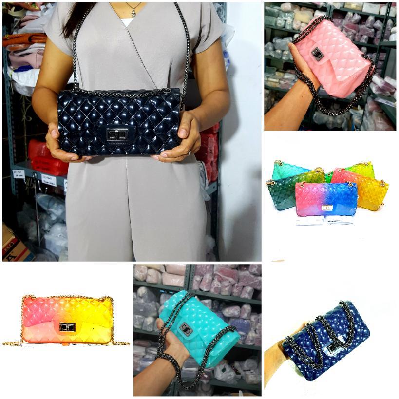 tas wanita jelly pelangi import uk besar 22cm BISA BAYAR DITEMPAT tas  wanita selempang-tas 90086b2da6