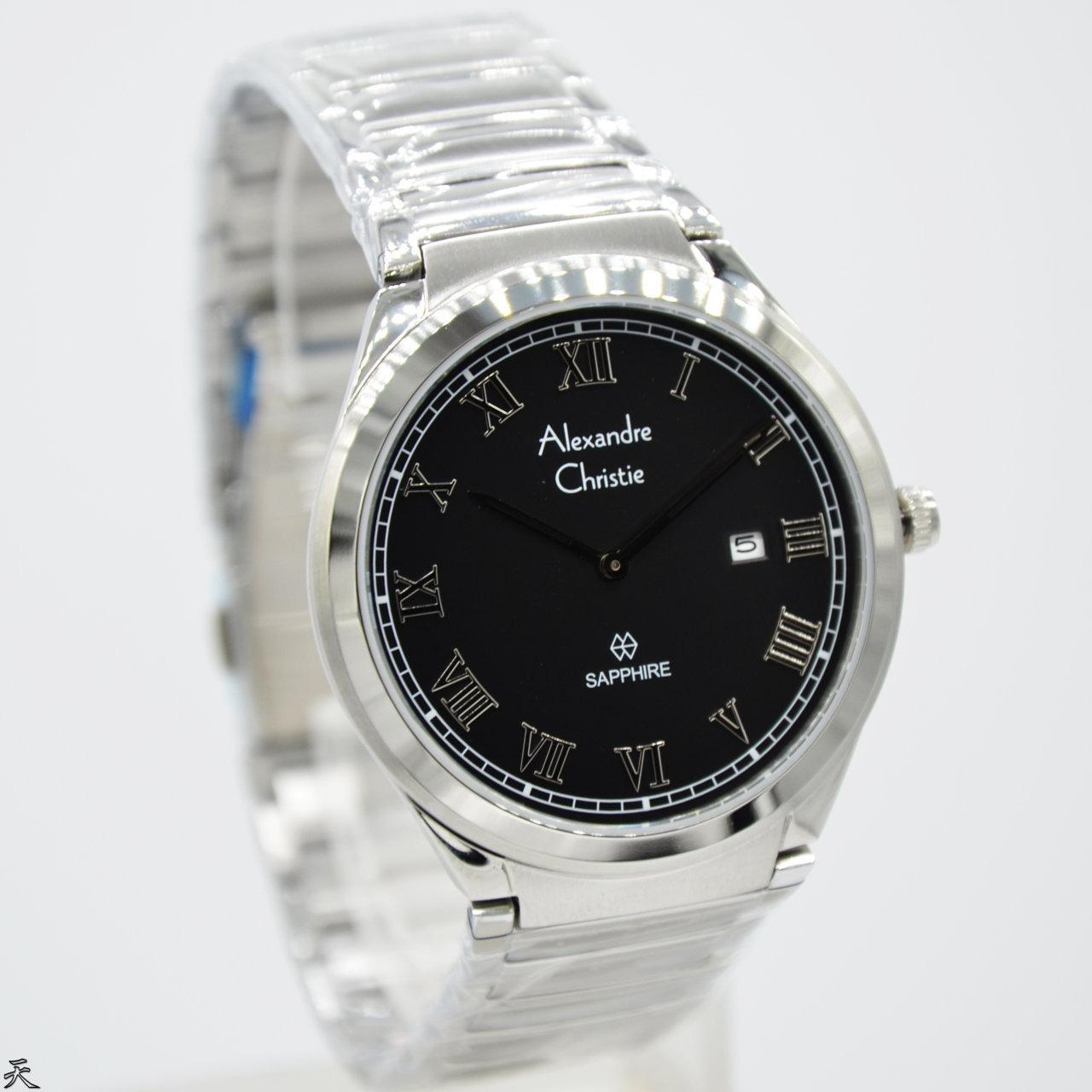 Jam Tangan Alexandre Christe Pria Christie 01 Original Ac8538 Stainless Silver Black