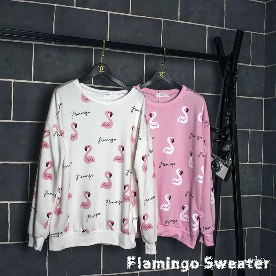 Flamingo Sweater Wanita - Korean Style - Butik Bajuku