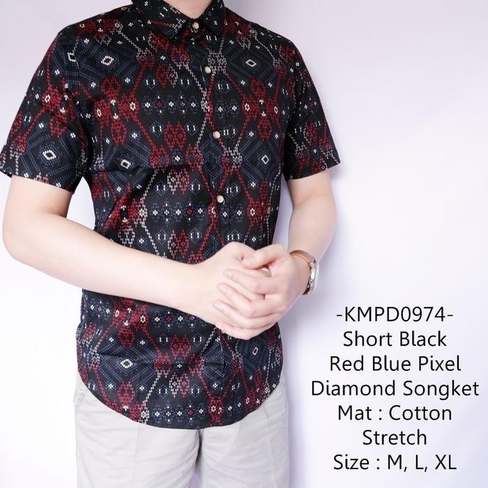 Kemeja Pendek Casual Short Black Red Blue Pixel Diamond Songket-974