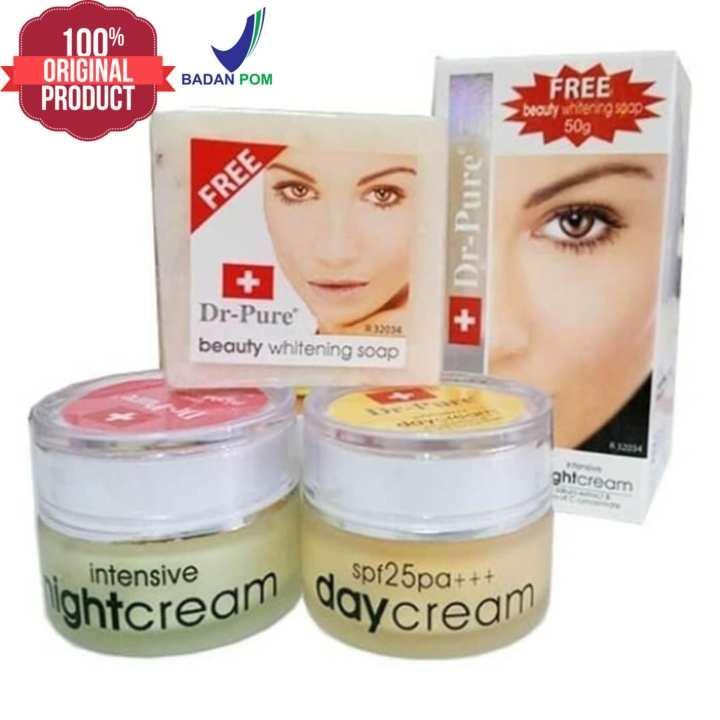 Dr Pure Paket Face Whitening Cream BPOM Set isi Day Cream, Night Cream, Soap