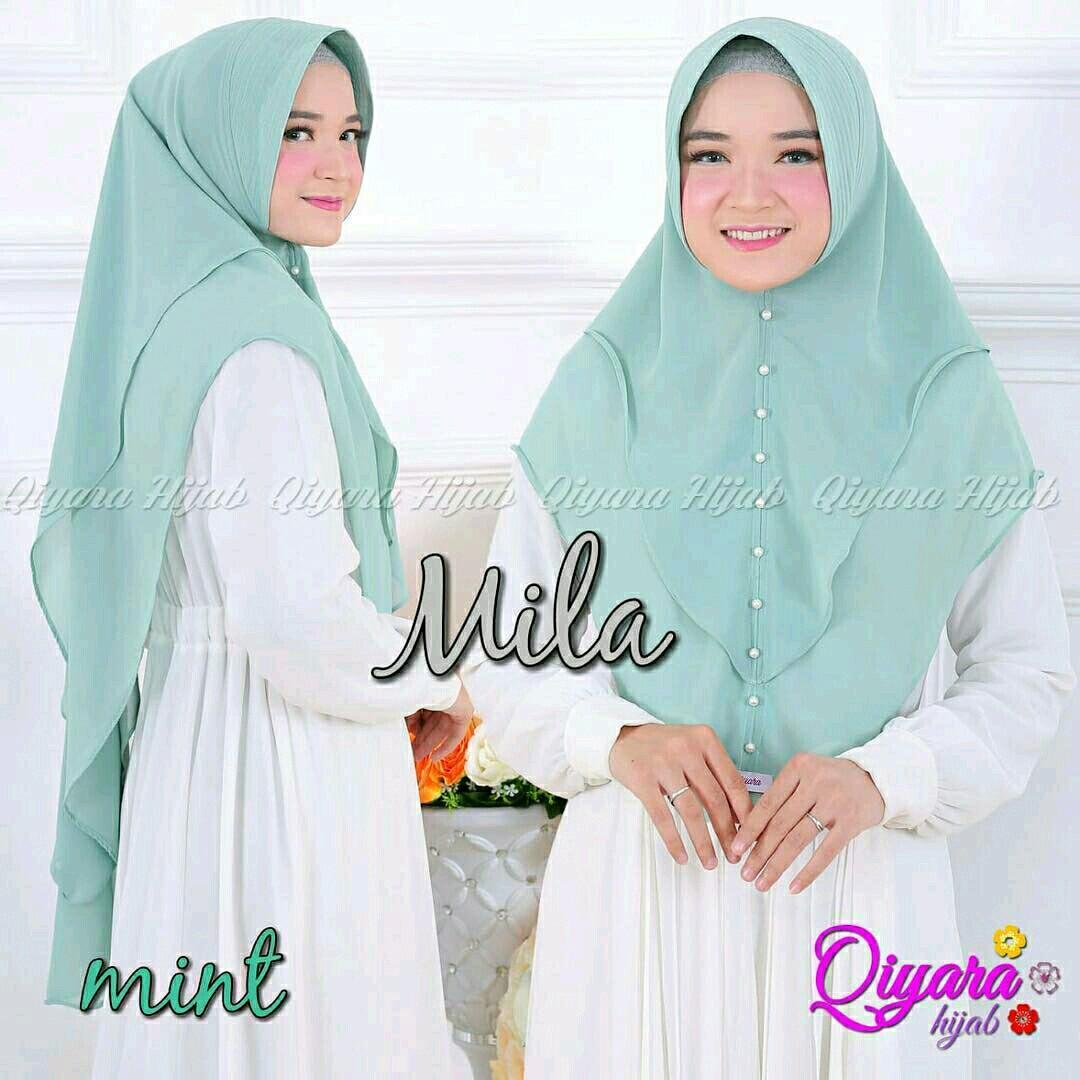 Qyara Mila Mutiara Mint Grosri Jilbab Hijab Khimar Pashmina Ootd Syari Motif Cantik