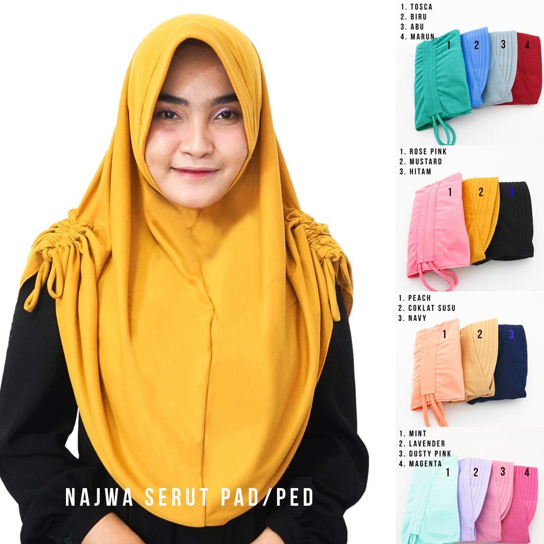 Kerudung Instan Hijab Najwa PAD/PED Serut Jilbab Instan Kerudung Khimar Instan Talita