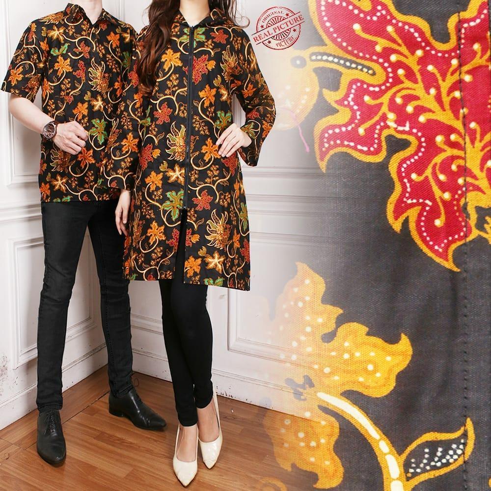 Glow fashion Batik couple blazer batik 2in1 dress maxi pendek atasan blouse long tunik kemeja wanita