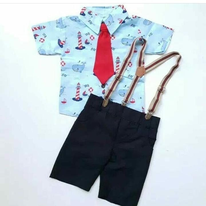 Setelan Kemeja Anak Cowok Karakter plus Suspender - Baju Anak Laki-Laki Terbaru - Stelan Formal dasi - Pakaian Pesta Bayi Kekinian
